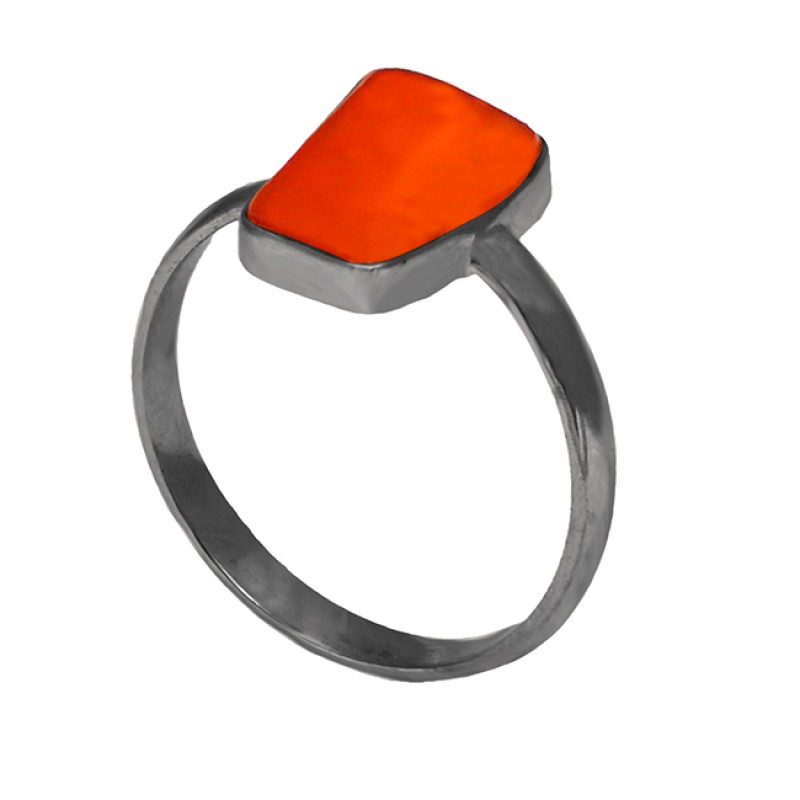 Plain Designer Ring Carnelian Fancy Shape Gemstone 925 Sterling Silver Gold Plated Jewelry