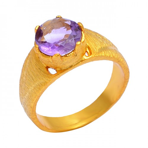 925 Sterling Silver Amethyst Round Shape Gemstone Gold Plated Designer Ring Jewelry
