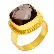 Smoky Quartz Cushion Shape Gemstone 925 Sterling Silver Gold Plated Designer Ring Jewelry