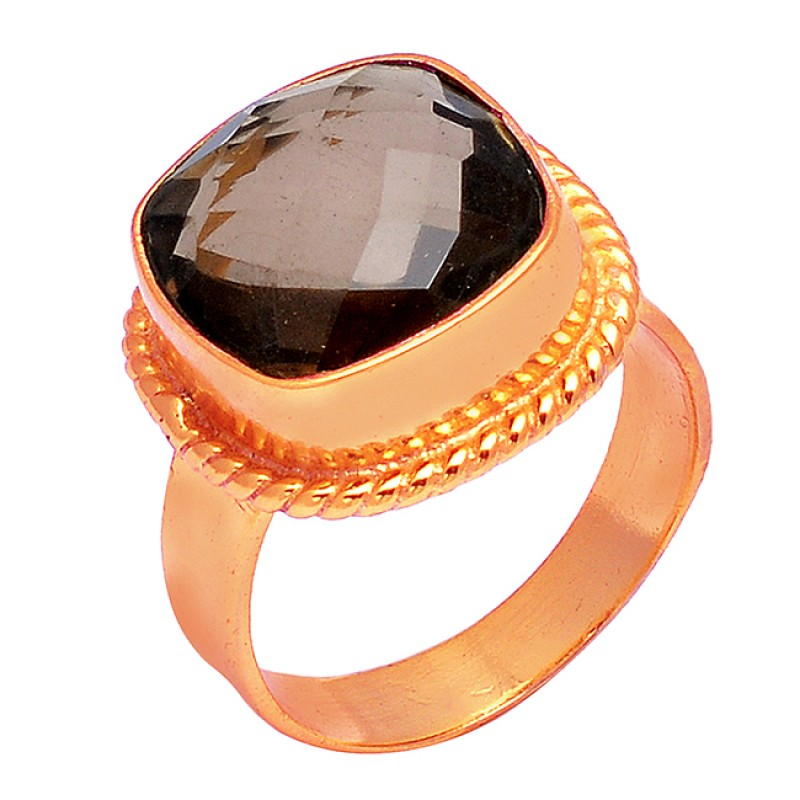 Smoky Quartz Cushion Shape Gemstone 925 Sterling Silver Gold Plated Designer Ring Jewelry