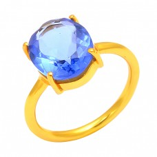 Oval Shape Blue Quartz Gemstone 925 Sterling Silver Gold Plated Prong Setting Ring Jewelry
