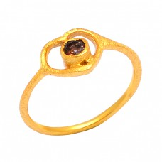 Smoky Quartz Round Shape Gemstone 925 Sterling Silver Gold Plated Designer Ring