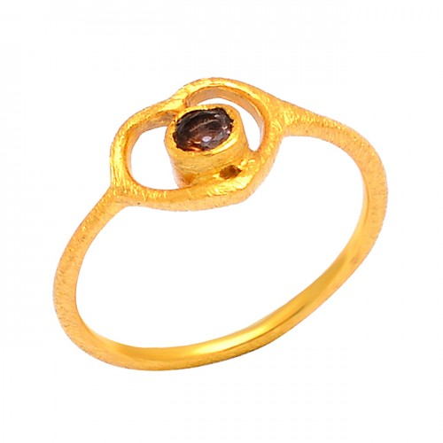 Smoky Quartz Round Shape Gemstone 925 Sterling Silver Gold Plated Designer Ring