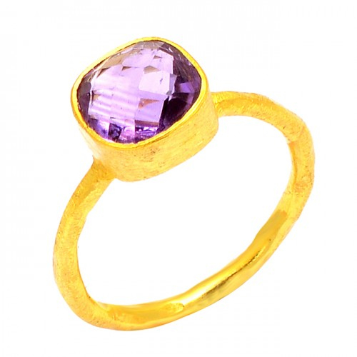 Cushion Shape Amethyst Gemstone 925 Sterling Silver Gold Plated Handmade Ring Jewelry