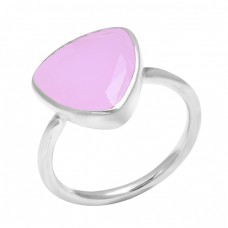 Rose Chalcedony Triangle Shape Gemstone 925 Sterling Silver Designer Ring Jewelry