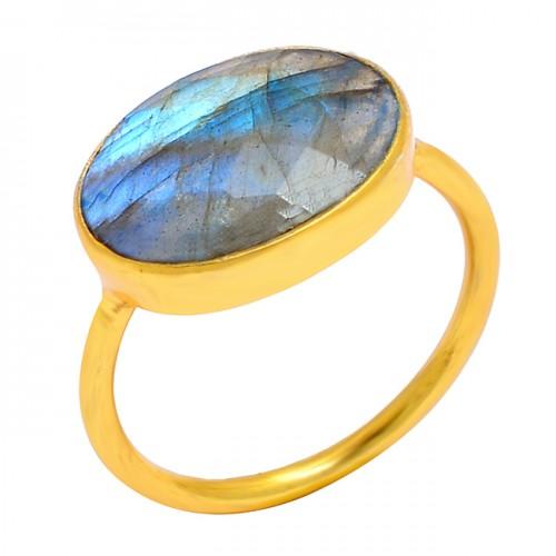Oval Shape Labradorite Gemstone 925 Sterling Silver Gold Plated Handmade Ring Jewelry
