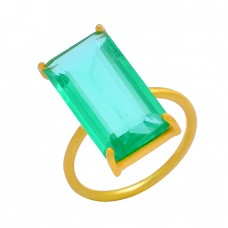 Green Apatite Rectangle Shape Gemstone 925 Sterling Silver Gold Plated Designer Ring