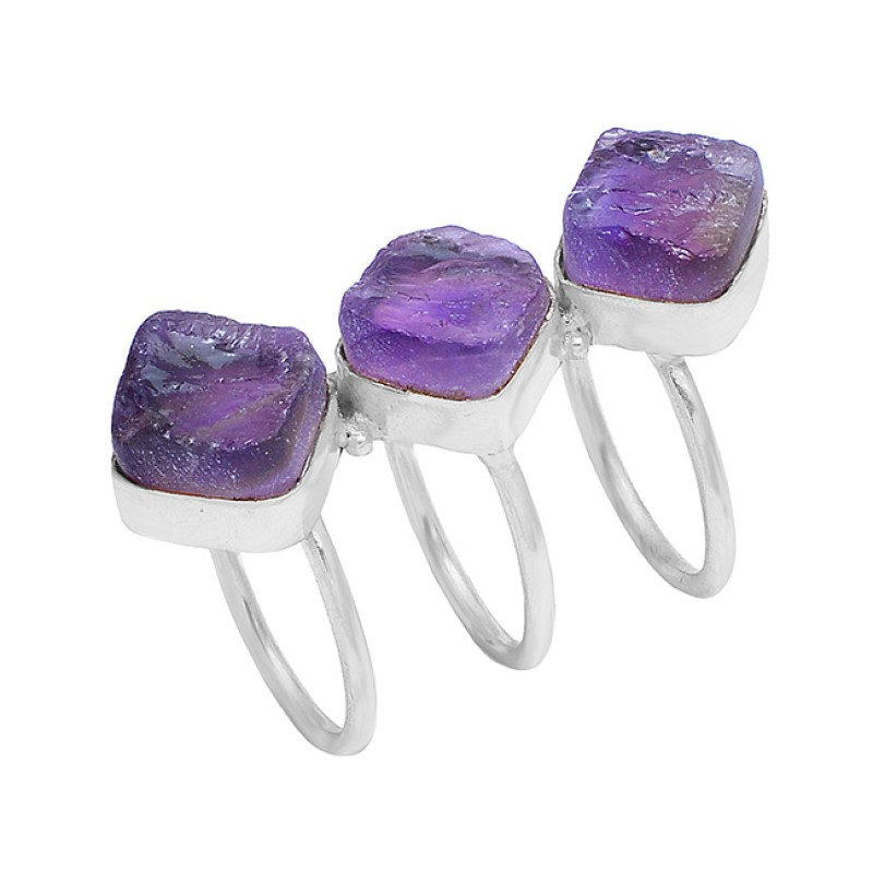 Raw Material Amethyst Rough Gemstone 925 Silver Gold Plated Handmade Ring