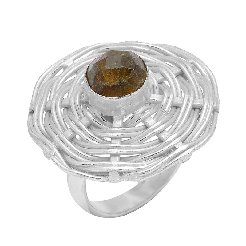 925 Sterling Silver Labradorite Round Shape Gemstone Gold Plated Unique Designer Ring