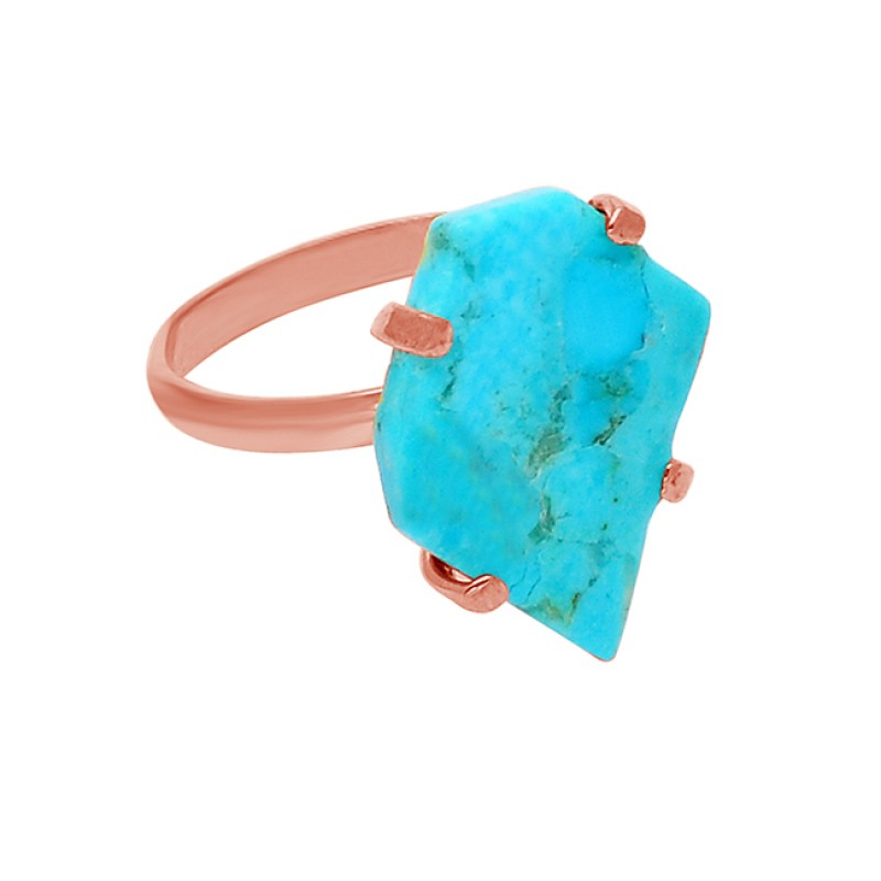 Fancy Shape Turquoise Gemstone 925 Sterling Silver Gold Plated Ring Jewelry