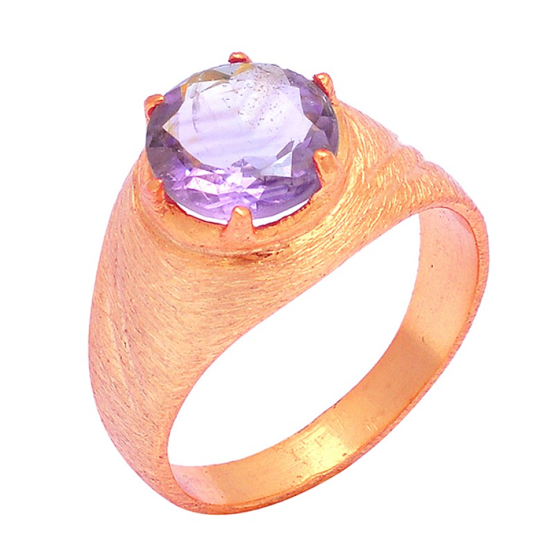 Amethyst Round Shape Gemstone 925 Sterling Silver Gold Plated Prong Setting Ring Jewelry