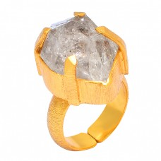 Herkimer Diamond Rough Gemstone 925 Sterling Silver Gold Plated Handmade Ring Jewelry