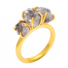Raw Material Herkimer Diamond Rough Gemstone 925 Sterling Silver Gold Plated Ring