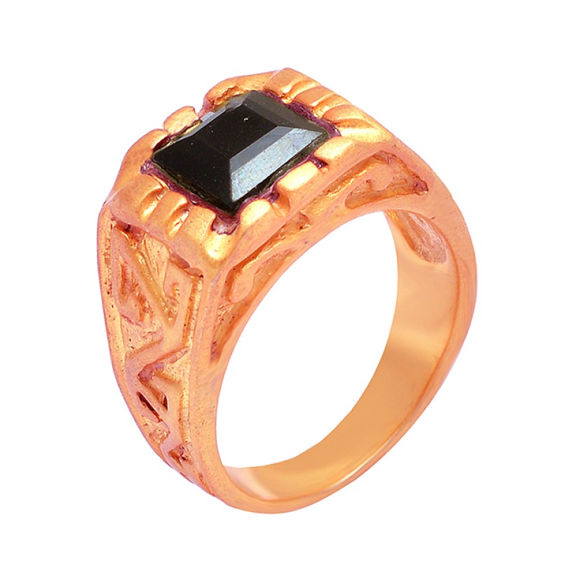 Black Onyx Square Shape Gemstone 925 Sterling Silver Gold Plated Designer Ring Jewelry