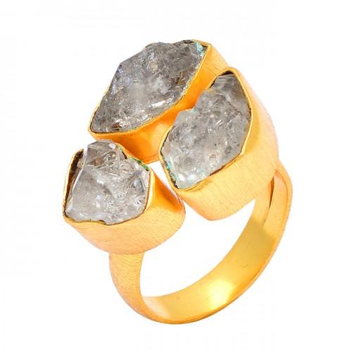 Handmade Designer Herkimer Diamond Rough Gemstone 925 Silver Gold Plated Ring