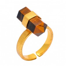 925 Sterling Silver Tiger Eye Pencil Shape Gemstone Gold Plated Handmade Ring Jewelry