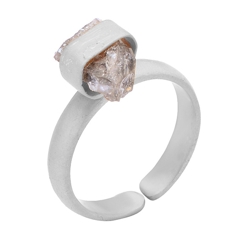 925 Sterling Silver Raw Material Herkimer Diamond Rough Gemstone Gold Plated Ring Jewelry