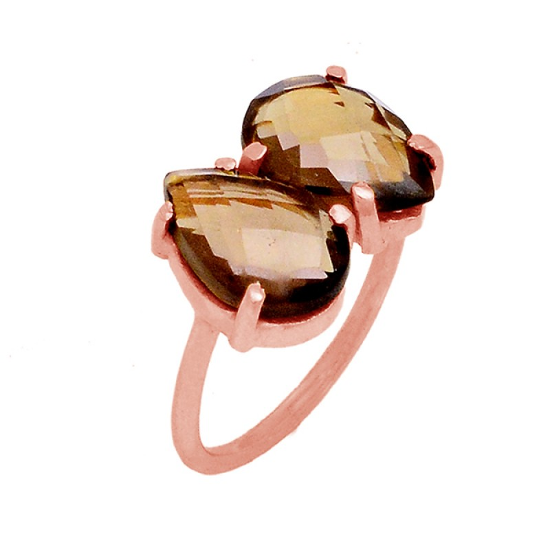 Smoky Quartz Faceted Pear Shape Gemstone 925 Sterling Silver Gold Plated Ring Jewelry