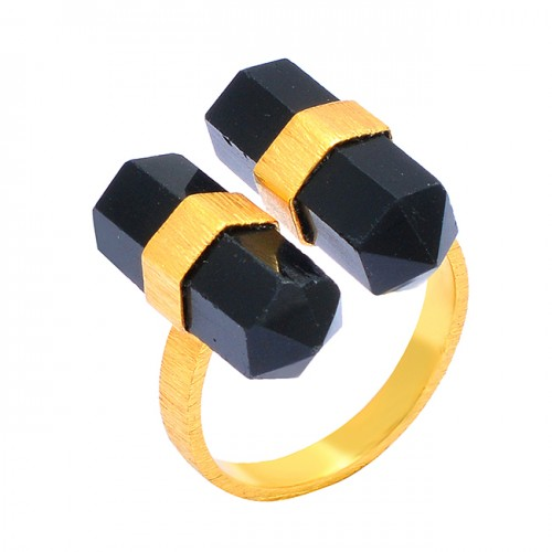 Black Onyx Double Point Shape Pencil Shape Gemstone 925 Sterling Silver Gold Plated Ring