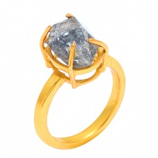 Herkimer Diamond Rough Gemstone 925 Sterling Silver Gold Plated Designer Ring Jewelry