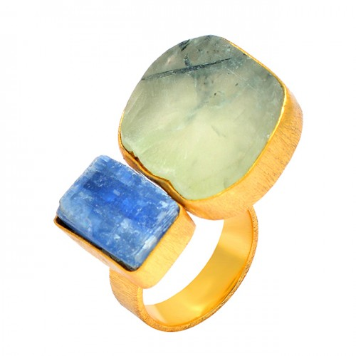 Blue Kynite Chalcedony Rough Gemstone 925 Sterling Silver Gold Plated Designer Ring Jewelry