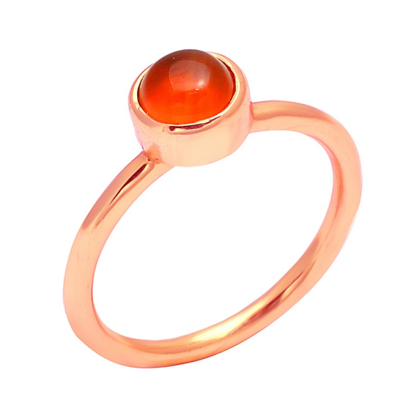 Round Cabochon Carnelian Gemstone 925 Sterling Silver Gold Plated Handcrafted Designer Ring