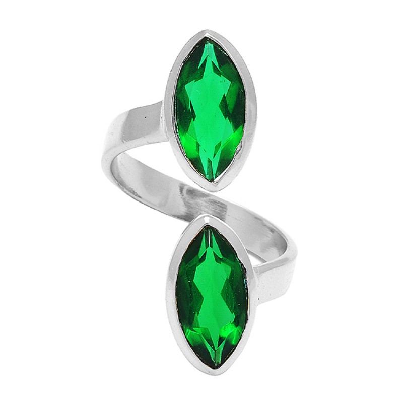 925 Sterling Silver Marquise Shape Green Quartz Gemstone Gold Plated Band Style Ring