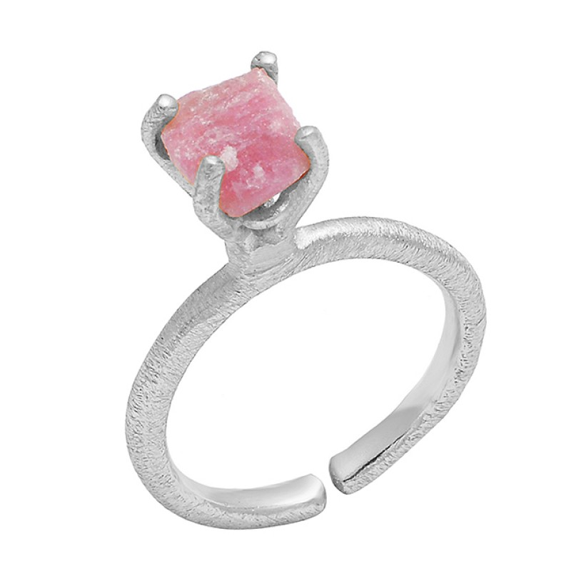 Rhodochrosite Rough Gemstone 925 Sterling Silver Gold Plated Adjustable Ring Jewelry