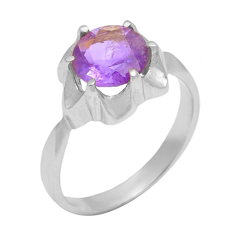 925 Sterling Silver Amethyst Round Shape Gemstone Designer Band Gold Plated Ring