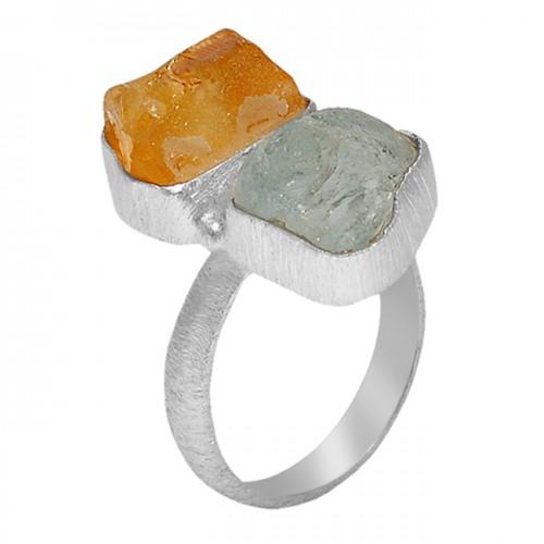 Raw Material Rough Aquamarine Citrine Gemstone 925 Sterling Silver Jewelry Ring