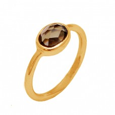 Faceted Oval Shape Smoky Quartz Gemstone 925 Sterling Silver Gold Plated Ring Jewelry