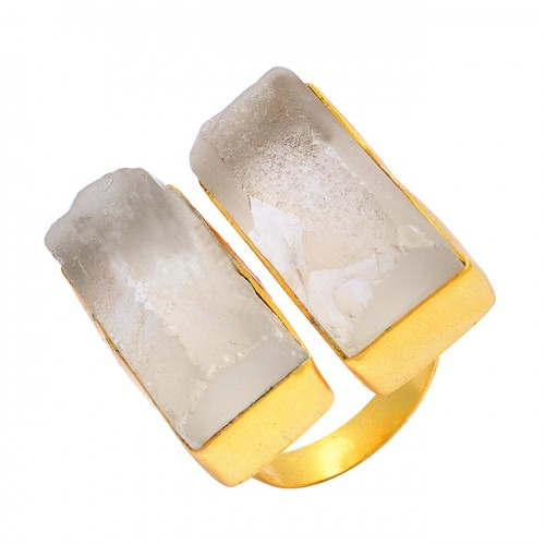 Rectangle Shape Rose Quartz Gemstone 925 Sterling Silver Gold Plated Designer Ring Jewelry