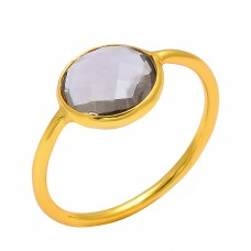 Smoky Quartz Round Shape Gemstone 925 Sterling Silver Gold Plated Designer Ring Jewelry
