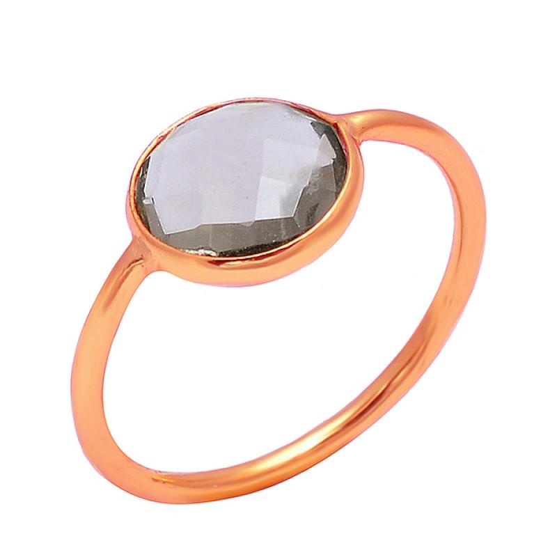 Smoky Quartz Round Shape Gemstone 925 Sterling Silver Gold Plated Designer Ring Jewelry