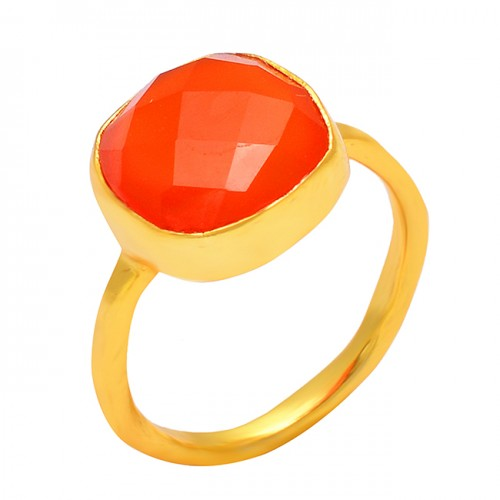 Cushion Shape Carnelian Gemtone 925 Sterling Silver Gold Plated Handmade Ring Jewelry