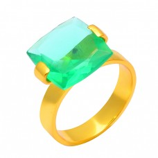 Square Shape Green Quartz Gemstone 925 Stering Silver Gold Plated Handamde Ring Jewelry