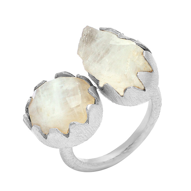 925 Sterling Silver Rainbow Moonstone Gold Plated Handcrafted Designer Ring Jewelry