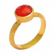 925 Sterling Silver Red Onyx Round Shape Gemstone Gold Plated Handmade Designer Ring