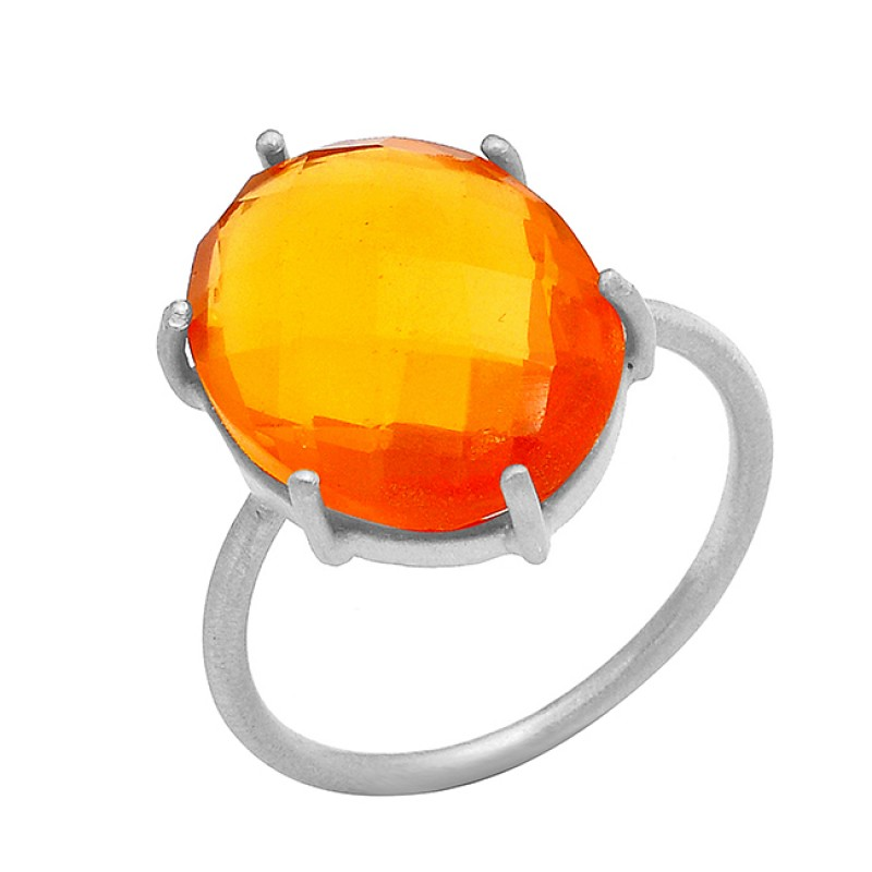 Oval Shape Fanta Quartz Gemstone 925 Sterling Silver Gold Plated Handmade Ring Jewelry