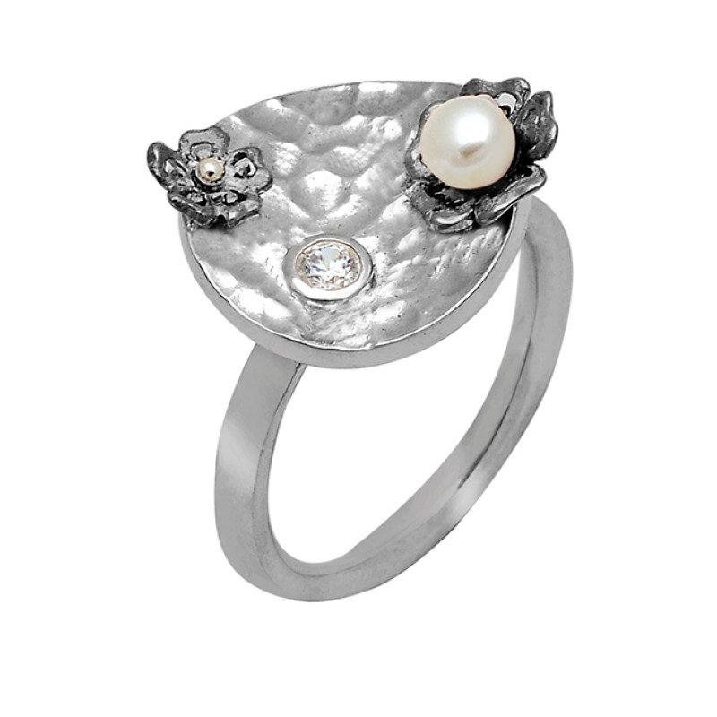 Round Shape Pearl Crystal Quartz Gemstone 925 Sterling Silver Ring Jewelry