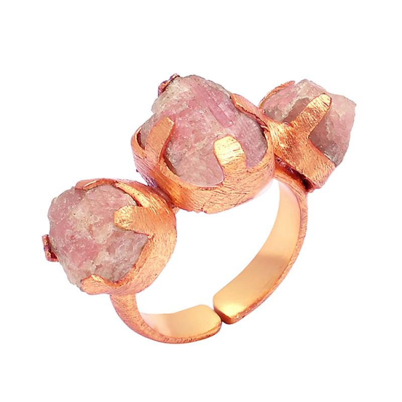 Handmade Rhodochrosite Rough Gemstone 925 Sterling Silver Gold Plated Ring Jewelry