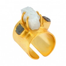 Labradorite Moonstone Rough Gemstone 925 Sterling Silver Gold Plated Handcrafted Designer Ring