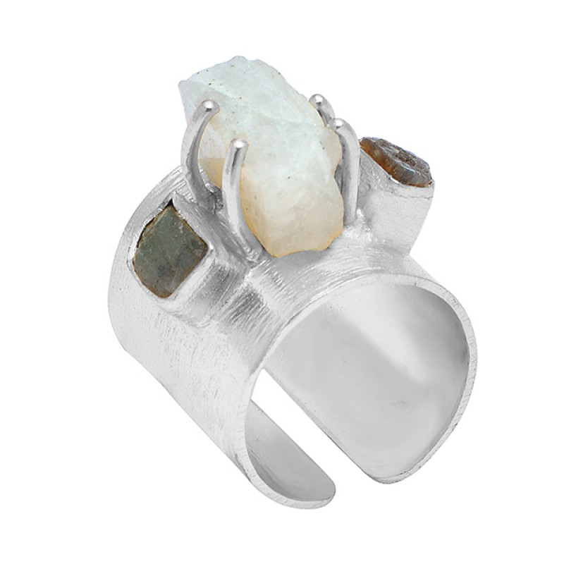 Labradorite Moonstone Rough Gemstone 925 Sterling Silver Gold Plated Handcrafted Designer Ring
