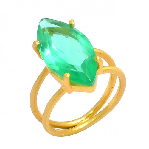 925 Sterling Silver Green Quartz Marquise Shape Gemstone Prong Setting Gold Plated Ring