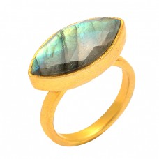 Labradorite Marquise Shape Gemstone 925 Sterling Silver Gold Plated Handmade Ring Jewelry