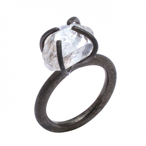 925 Sterling Silver Crystal Rough Gemstone Black Rhodium Handmade Prong Setting Ring Jewelry