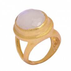 Oval Shape Rose Chalcedony Gemstone 925 Sterling Silver Gold Plated Designer Ring Jewelry
