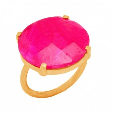 Round Briolette Ruby Gemstone 925 Sterling Silver Prong Setting Gold Plated Ring Jewelry