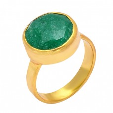 925 Sterling Silver Emerald Round Shape Gemstone Gold Plated Unique Ring Jewelry