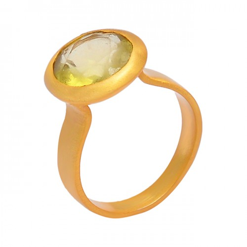 Round Shape Citrine Gemstone 925 Sterling Silver Gold Plated Designer Ring Jewelry